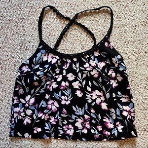 Kendall&Kylie Black Flowered Crop Top